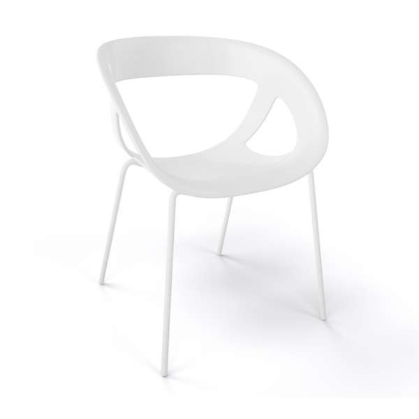Fauteuil design italien blanc pieds blancs Moema - 14