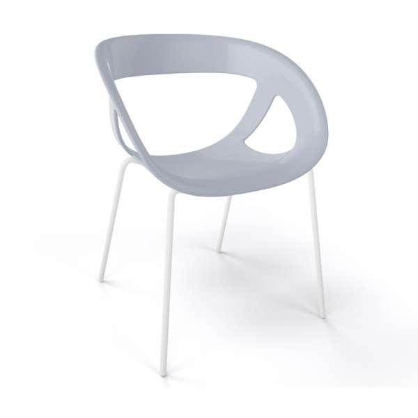 Fauteuil design italien gris pieds blancs Moema - 16