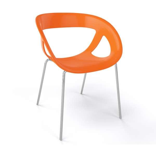 Fauteuil design italien orange pieds chromés Moema - 18