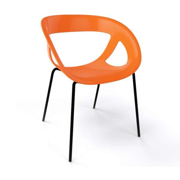 Fauteuil design italien orange pieds noirs Moema - 20