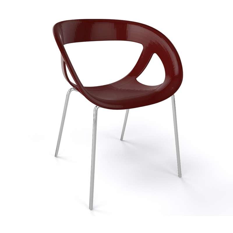 fauteuil de designer italien empilable avec coque ajourée et pieds