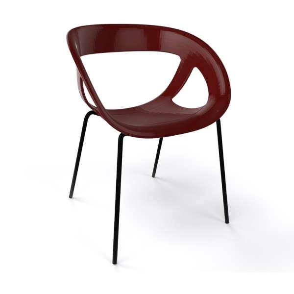 Fauteuil design italien marron pieds noirs Moema - 23