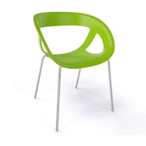 Fauteuil design italien vert pieds chromés Moema - 24