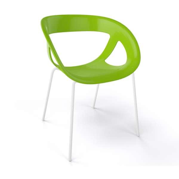 Fauteuil design italien vert pieds blancs Moema - 25