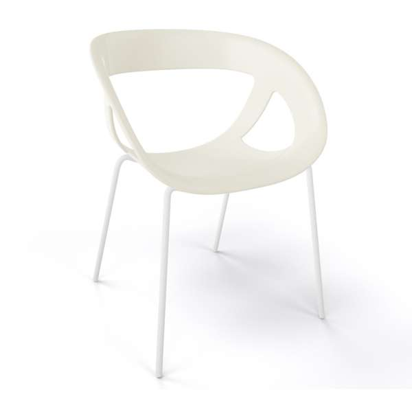 Fauteuil design italien beige pieds blancs Moema - 31