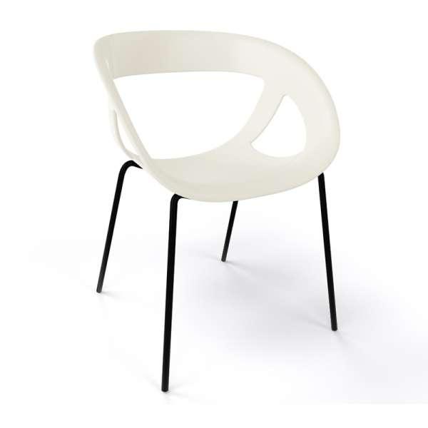 Fauteuil design italien beige pieds noirs Moema - 32