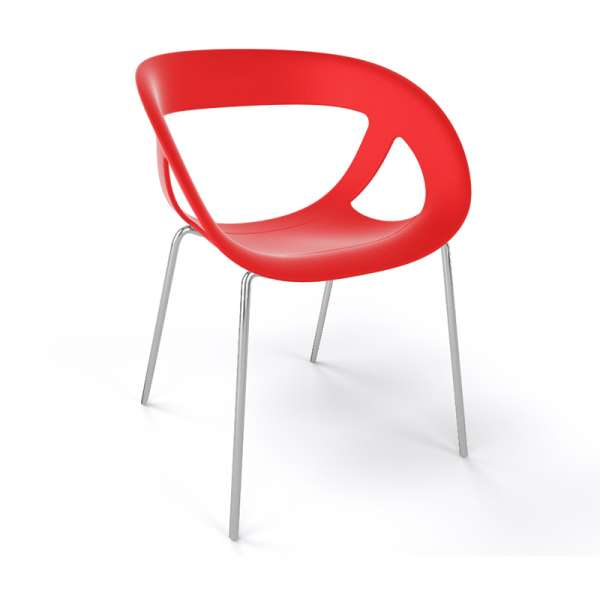 Fauteuil design italien rouge pieds chromés Moema - 33