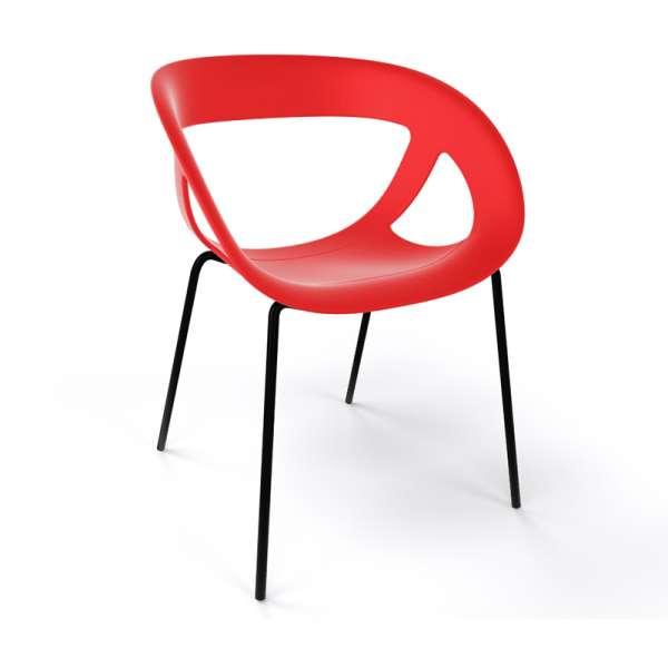 Fauteuil design italien rouge pieds noirs Moema - 35