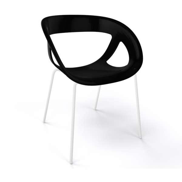 Fauteuil design italien noir pieds blancs Moema - 37