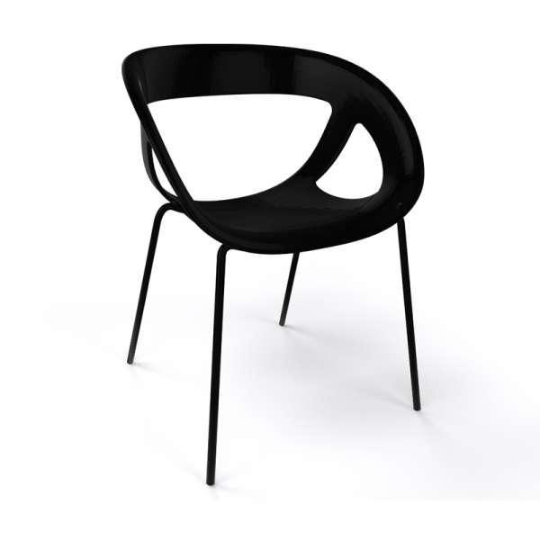 Fauteuil design italien noir pieds noirs Moema - 38