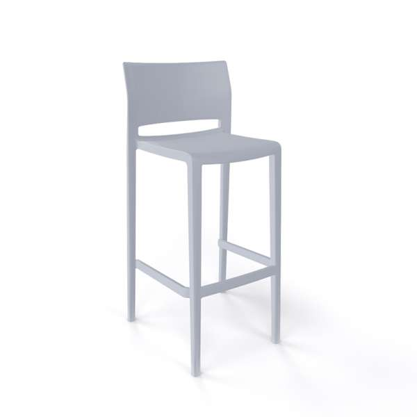 Tabouret de bar moderne empilable gris clair - Bakhita - 3