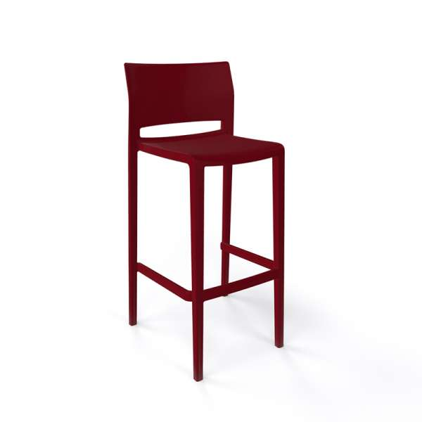 Tabouret de bar moderne empilable bordeaux - Bakhita - 8