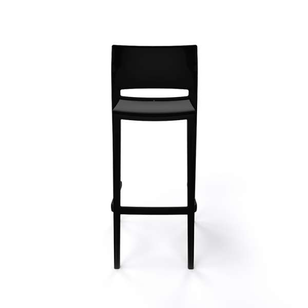 Tabouret de bar empilable en plastique noir - Bakhita - 14