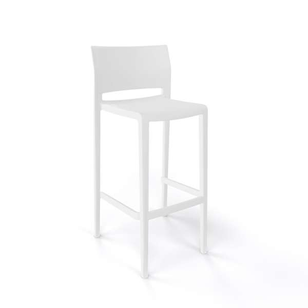 Tabouret de bar d'extérieur empilable blanc - Bakhita - 3