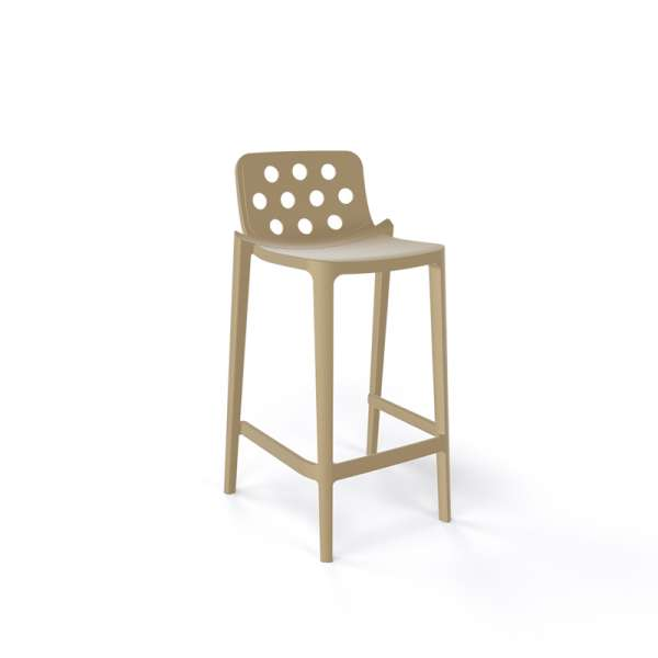 Tabouret snack moderne taupe empilable avec dossier ronds ajourés - Isidoro - 10
