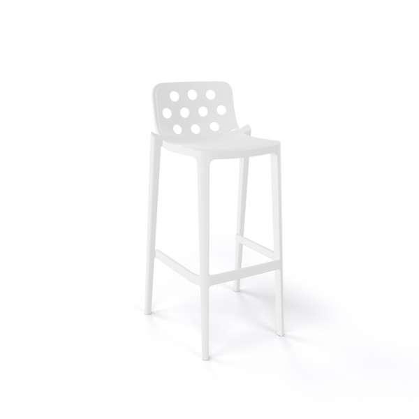 Tabouret de bar moderne blanc empilable avec dossier ronds ajourés - Isidoro - 12