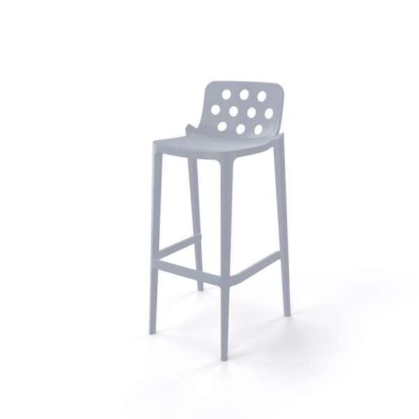 Tabouret hauteur 76 cm empilable en plastique gris clair avec dossier ronds ajourés - Isidoro - 18