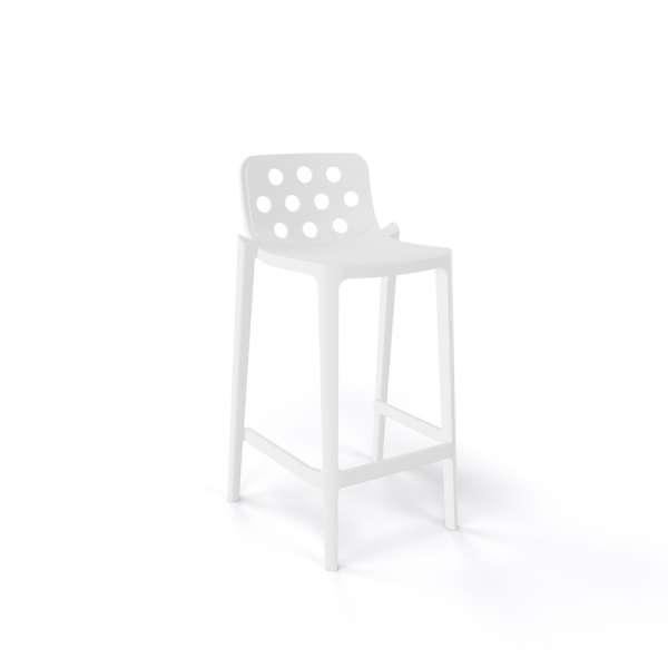 Tabouret snack de jardin blanc moderne empilable avec dossier ronds ajourés - Isidoro - 8