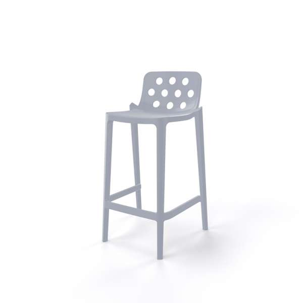 Tabouret hauteur 66 cm en plastique gris clair - Isidoro - 15