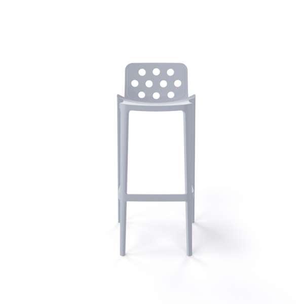 Tabouret hauteur 76 cm de jardin gris clair empilable avec dossier ronds ajourés - Isidoro - 15