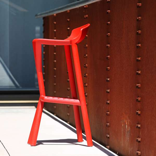 Tabouret de bar design en plastique rouge - Shiver - 3