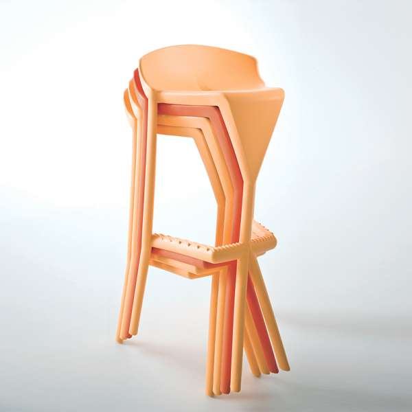 Tabouret design empilable en plastique jaune - Shiver - 6