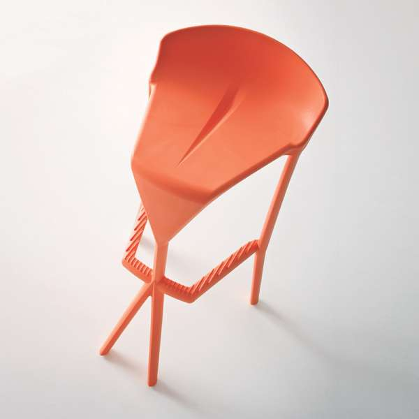Tabouret de bar design empilable en technopolymère orange - Shiver - 7