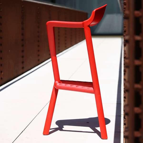 Tabouret de jardin design empilable en plastique rouge - Shiver - 3