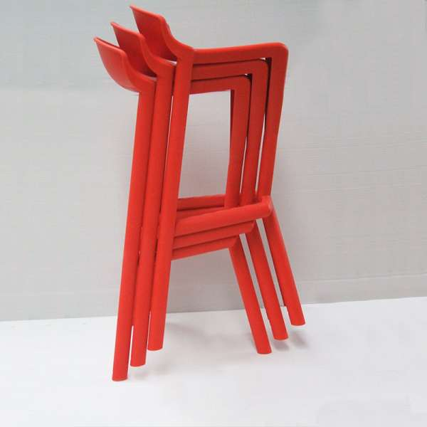 Tabouret de jardin design empilable en technopolymère rouge - Shiver - 4