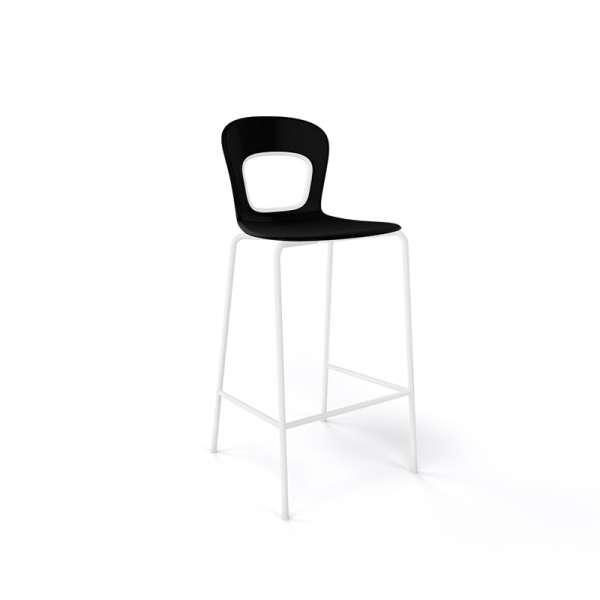 Tabouret snack moderne empilable assise noire pieds en blanc - Blog - 3