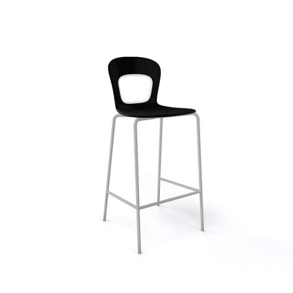 Tabouret snack moderne empilable  assise noire pieds gris - Blog - 1