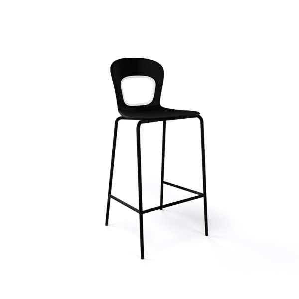 Tabouret snack moderne empilable assise noire et pieds en noir - Blog - 4