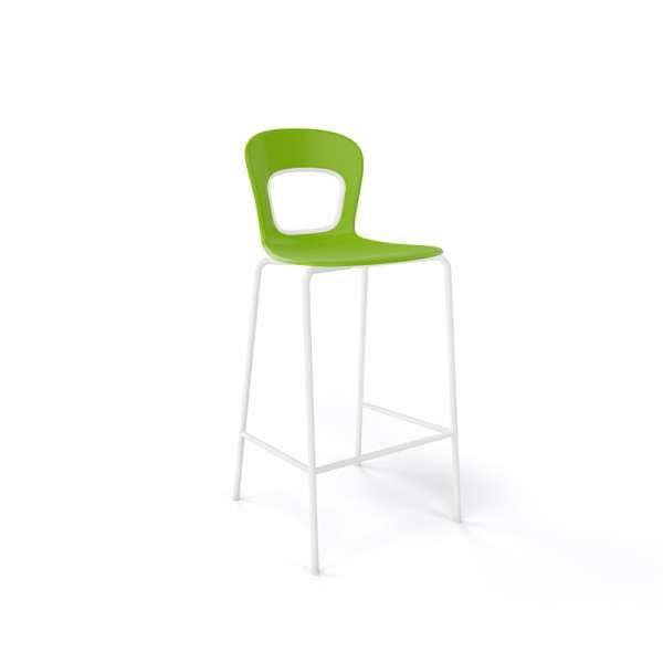 Tabouret snack moderne empilable assise verte pieds en blanc - Blog - 5
