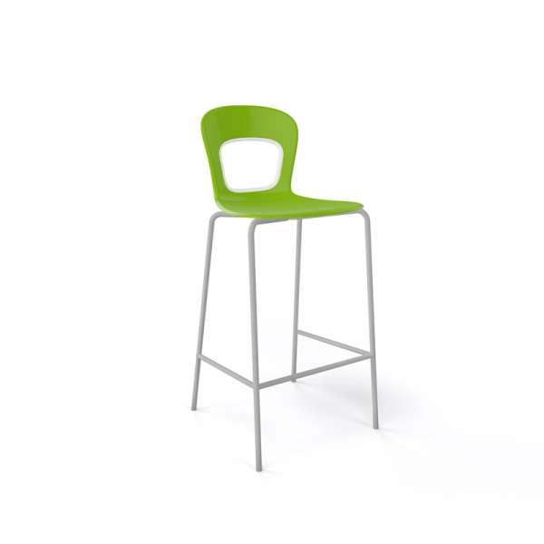 Tabouret snack moderne empilable assise verte pieds gris - Blog - 6