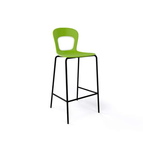 Tabouret snack moderne empilable assise verte pieds noirs - Blog - 7