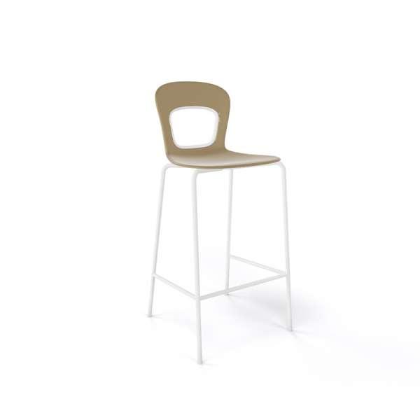 Tabouret snack moderne empilable assise taupe pieds blancs - Blog - 8