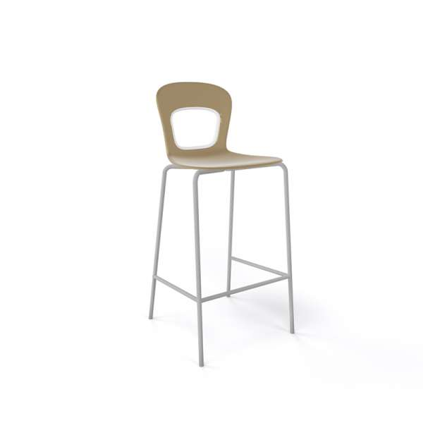 Tabouret snack moderne empilable assise taupe pieds gris - Blog - 9
