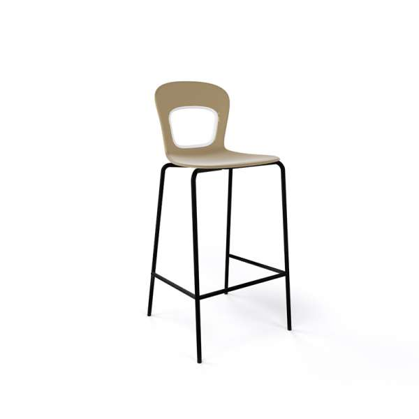 Tabouret snack moderne empilable assise taupe pieds noirs - Blog - 10
