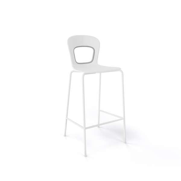 Tabouret snack moderne empilable assise blanche pieds blancs - Blog - 14