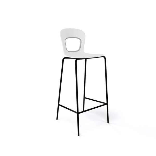 Tabouret blanc et piétement noir en plastique et métal - Blog - 15