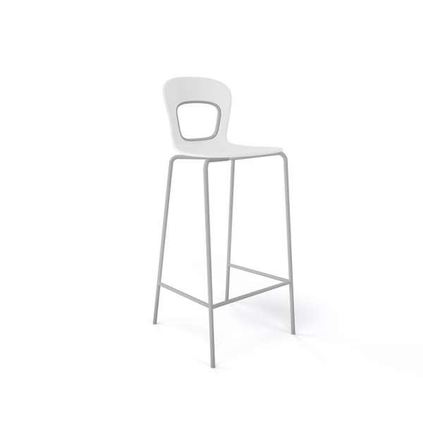 Tabouret empilable moderne en plastique blanc et piétement en métal laqué gris - Blog - 16