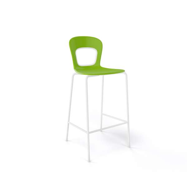 Tabouret de jardin snack moderne empilable en technopolymère vert et métal blanc - Blog - 5