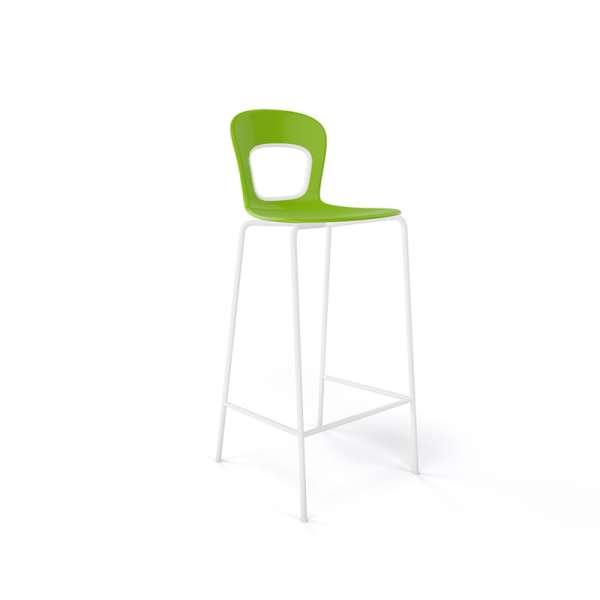Tabouret de bar extérieur empilable en technopolymère vert et métal blanc - Blog - 10