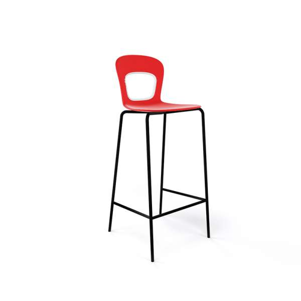 Tabouret de bar extérieur empilable en technopolymère rouge et métal noir - Blog - 17