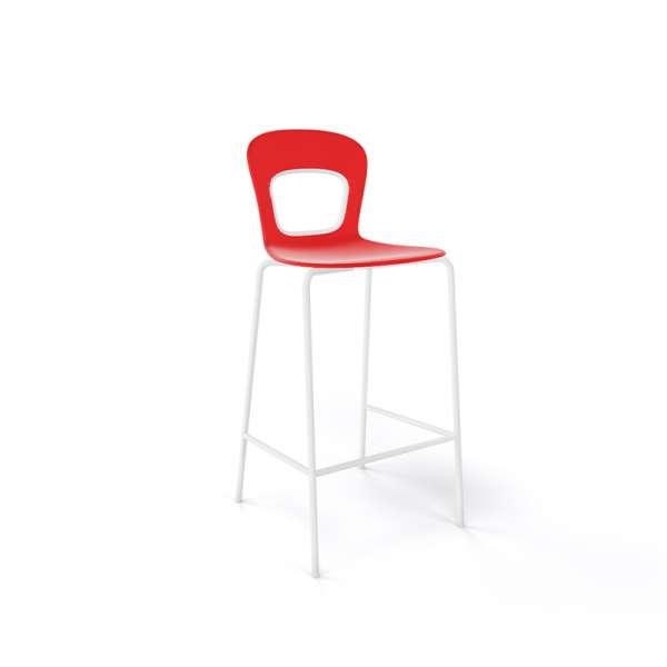 Tabouret de bar extérieur empilable en plastique rouge et métal blanc - Blog - 18