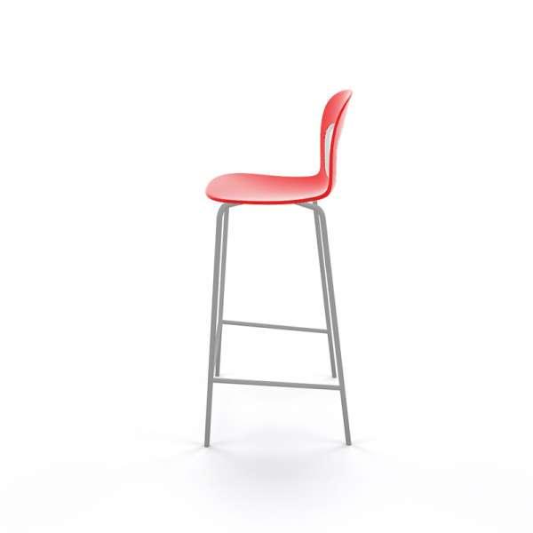Tabouret de bar extérieur empilable en plastique rouge et métal gris - Blog - 20