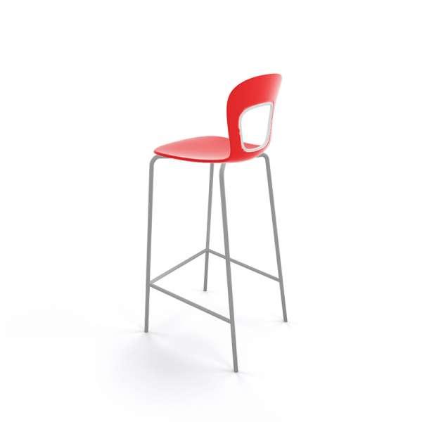 Tabouret de bar extérieur empilable en plastique rouge et métal gris - Blog - 21