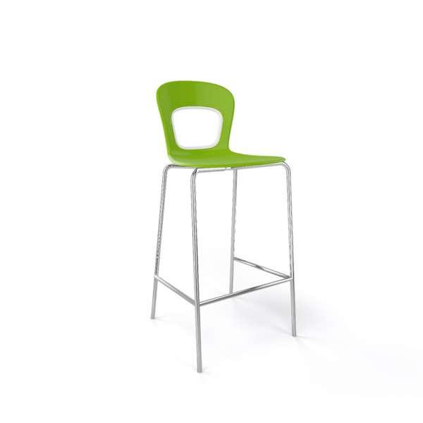 Tabouret snack moderne empilable vert et chromé - Blog - 26