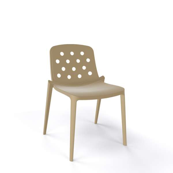 Chaise moderne empilable en plastique taupe - Isidora - 5