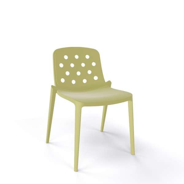 Chaise moderne empilable en plastique vert sauge - Isidora - 6